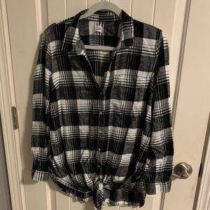 Maternity knit front plaid top